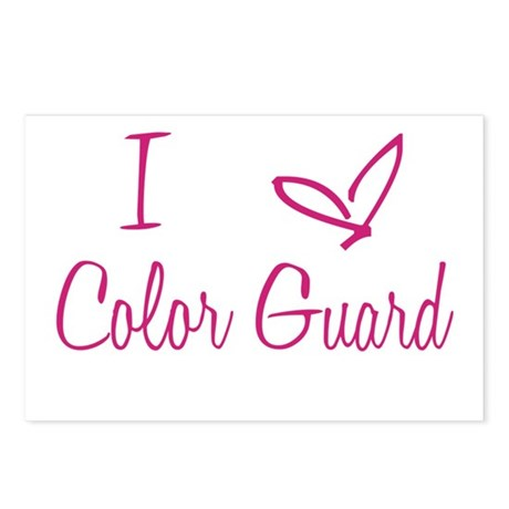 I Love Color Guard in Strawberry Pink Text Postcar