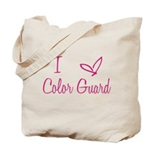 I Love Color Guard in Strawberry Pink Text Tote Ba
