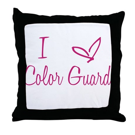 I Love Color Guard in Strawberry Pink Text Throw P