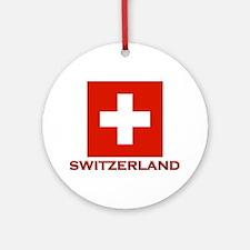 Switzerland Flag Merchandise Ornament (Round)