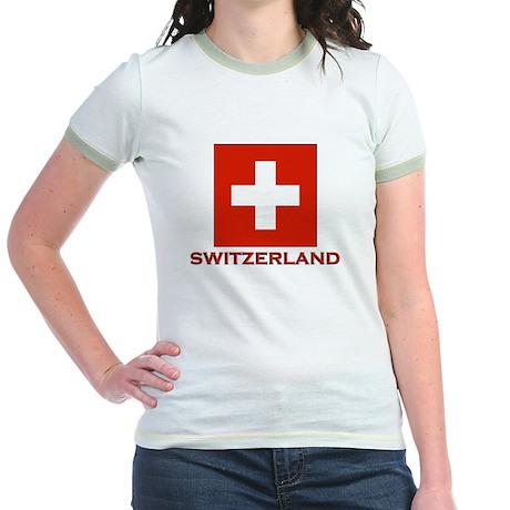 Switzerland Flag Merchandise Jr. Ringer T-Shirt
