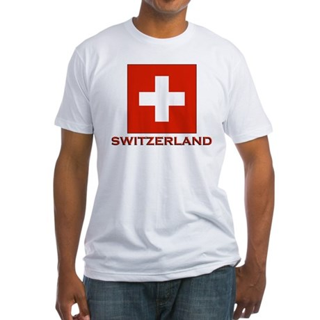 Switzerland Flag Merchandise Fitted T-Shirt