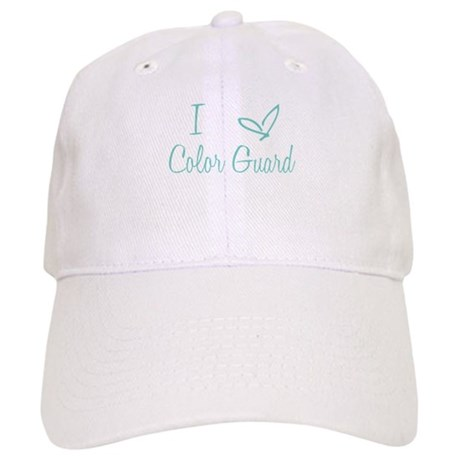 I Love Color Guard in Turquoise Text Cap