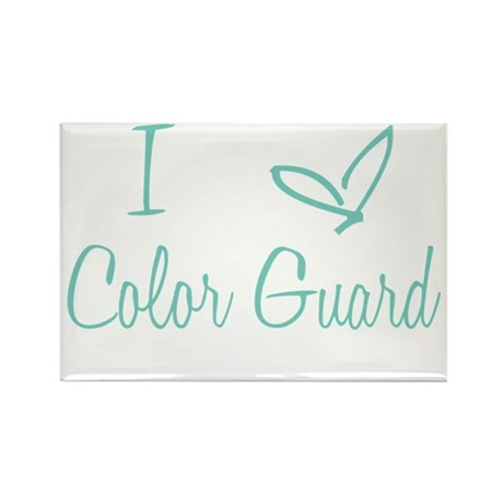 I Love Color Guard in Turquoise Text Rectangle Mag