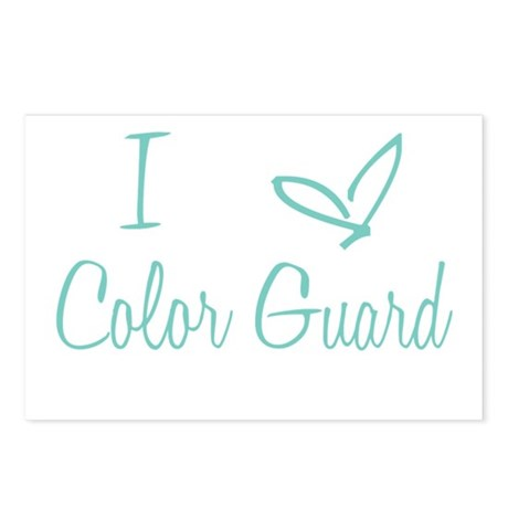 I Love Color Guard in Turquoise Text Postcards (Pa