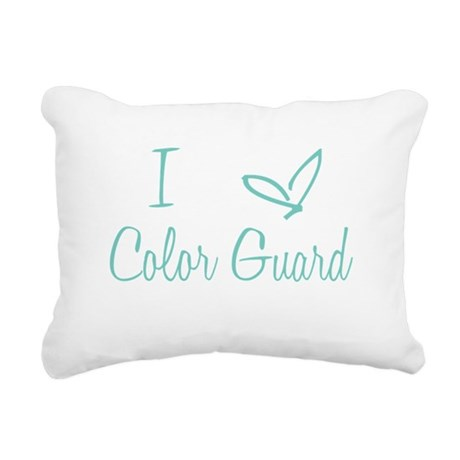 I Love Color Guard in Turquoise Text Rectangular C