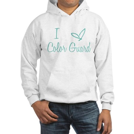 I Love Color Guard in Turquoise Text Hooded Sweats