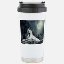 White Wolf and Pup Stainless Steel Travel Mug
