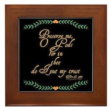 Psalms 16 1 Green Vines Framed Tile