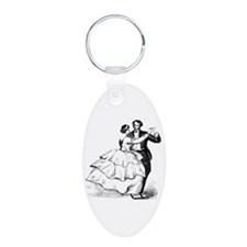 Old-time Ballroom Dancers Aluminum Oval Keychain