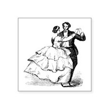 "Old-time Ballroom Dancers Square Sticker 3"" x 3"""