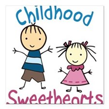"""Childhood Sweethearts Square Car Magnet 3"""" x 3"""""""