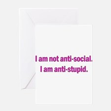 Anti-social Pink Greeting Card