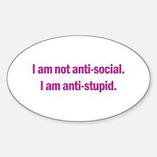 Anti-social Pink Sticker (Oval)