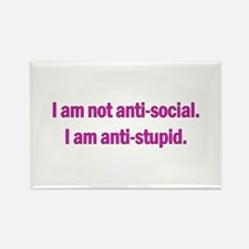 Anti-social Pink Rectangle Magnet