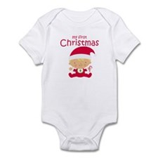 Blonde Boy 1st Christmas Baby Bodysuit
