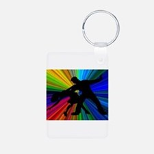 Dazzling Dance Silhouettes Aluminum Photo Keychain