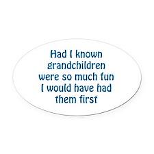 fun grandchildren Oval Car Magnet
