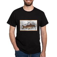 Catfish Fish (Front) Black T-Shirt
