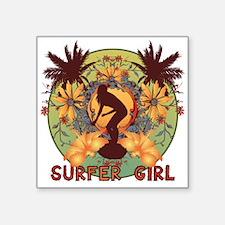 "surfer girl Square Sticker 3"" x 3"""