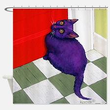 Purple Cat Red Door Shower Curtain