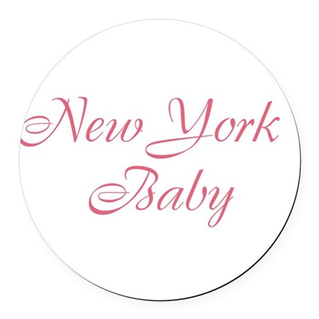 New York baby pink Round Car Magnet