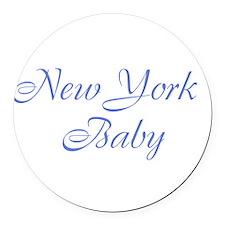 New York baby blue Round Car Magnet