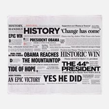 Obama 2008/2012 Headlines Throw Blanket