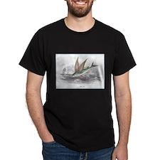 Flying Fish (Front) Black T-Shirt