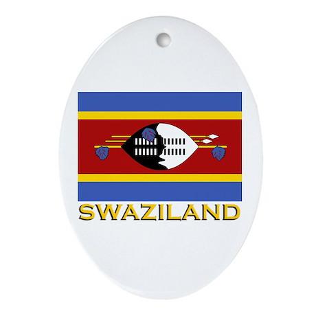 Swaziland Flag Gear Oval Ornament