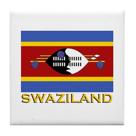 Swaziland Flag Gear Tile Coaster