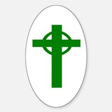 Green Celtic Cross Small Decal