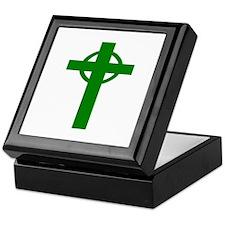 Green Celtic Cross Small Keepsake Box