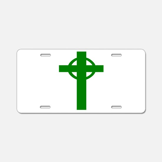 Green Celtic Cross Aluminum License Plate