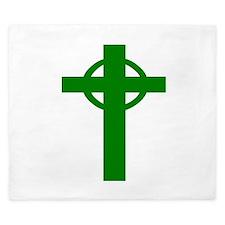 Green Celtic Cross King Duvet