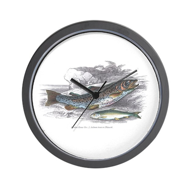 Trout fish wall clock by 1withnature for Fish wall clock