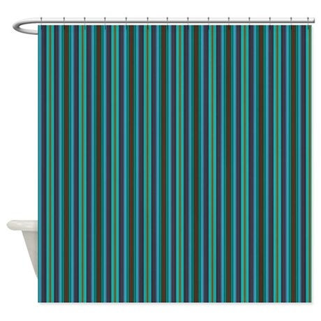 Blue Brown Horizontal Stripes Shower Curtain By PrintedLittleTreasures