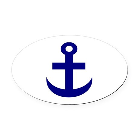 Anchor or Mariners Cross Blue Oval Car Magnet