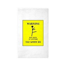 Taekwondo Warning 3'x5' Area Rug