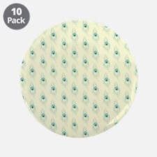 """Ivory Peacock Feather Print 3.5"""" Button (10 pack)"""