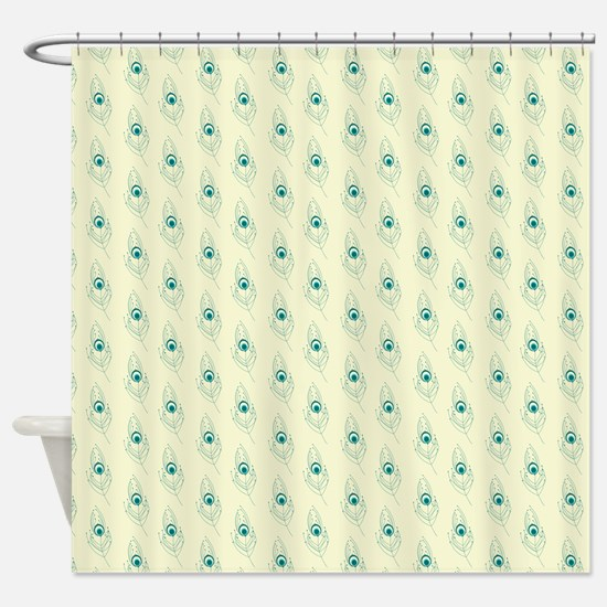 Ivory Peacock Feather Print Shower Curtain