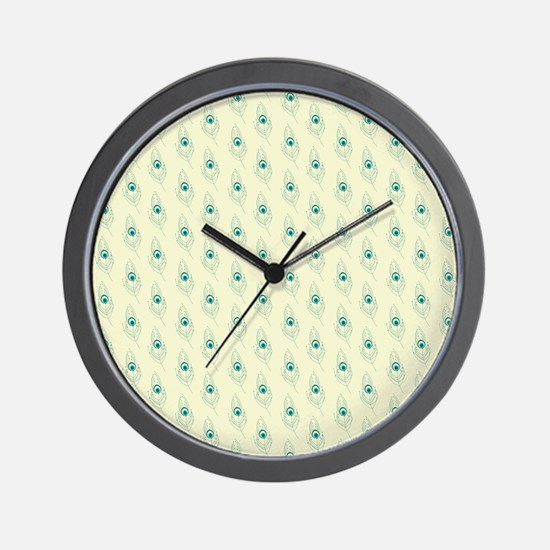 Ivory Peacock Feather Print Wall Clock