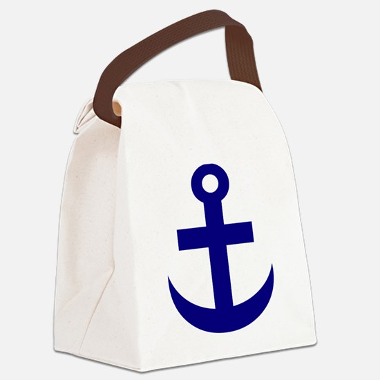 Anchor or Mariners Cross Blue Canvas Lunch Bag