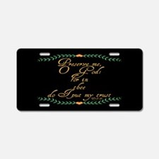 Psalm 16 1 Green Vines Aluminum License Plate