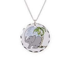 Elephant rub Necklace Circle Charm
