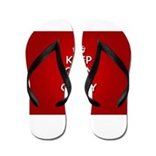 Red Keep Calm And Carry On Flip Flops