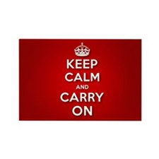 Red Keep Calm And Carry On Rectangle Magnet