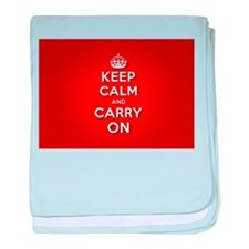 Red Keep Calm And Carry On baby blanket