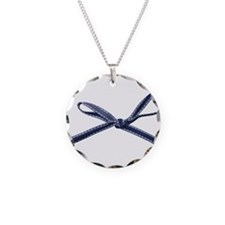 Navy Blue Bow Necklace