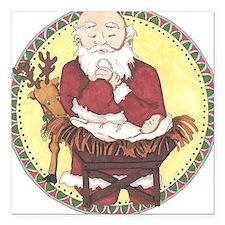 """Santa & Baby Jesus Square Car Magnet 3"""" x 3"""""""